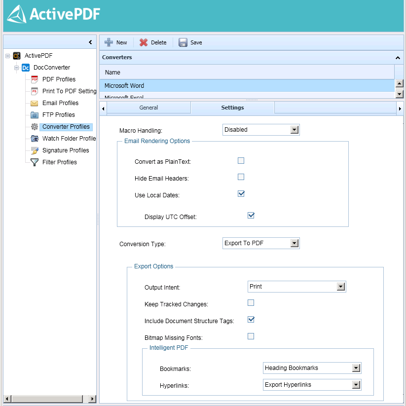 Converter Profiles Page Settings Tab MSO